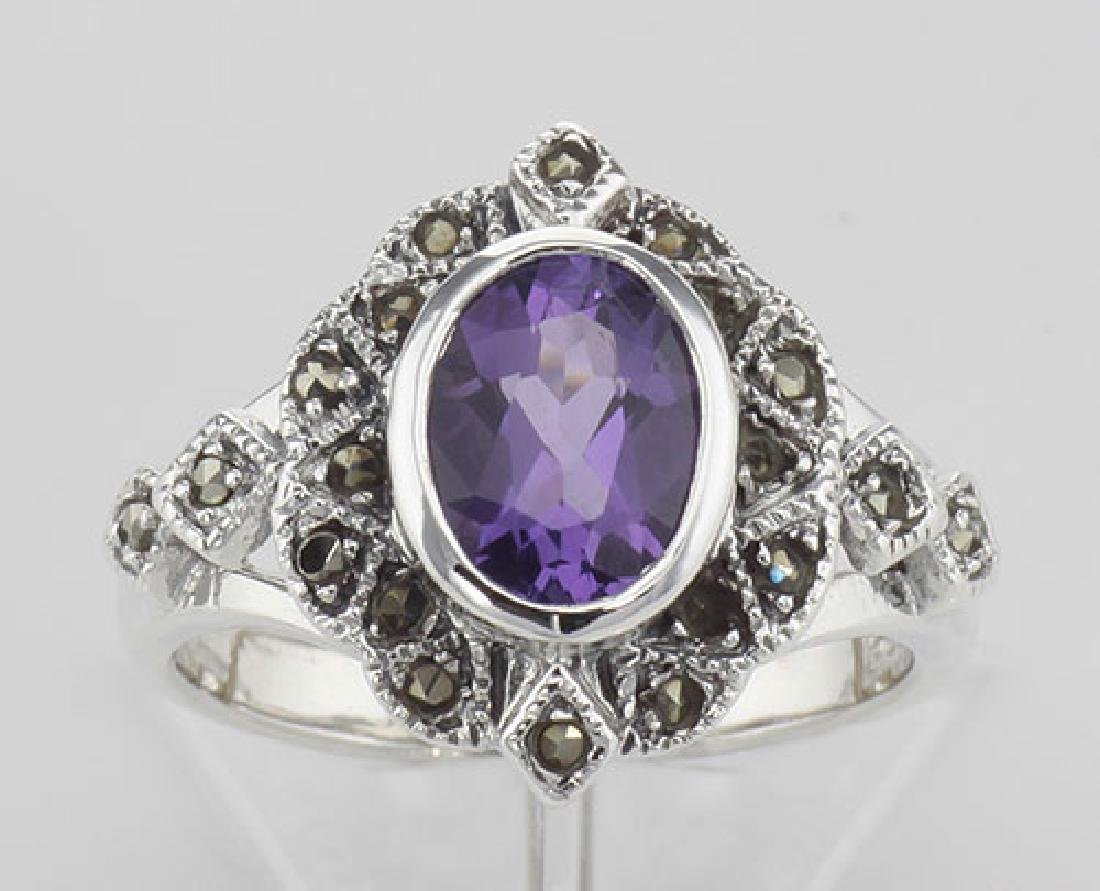 Lovely 1 Carat Genuine Amethyst and Marcasite Ring - St - 2