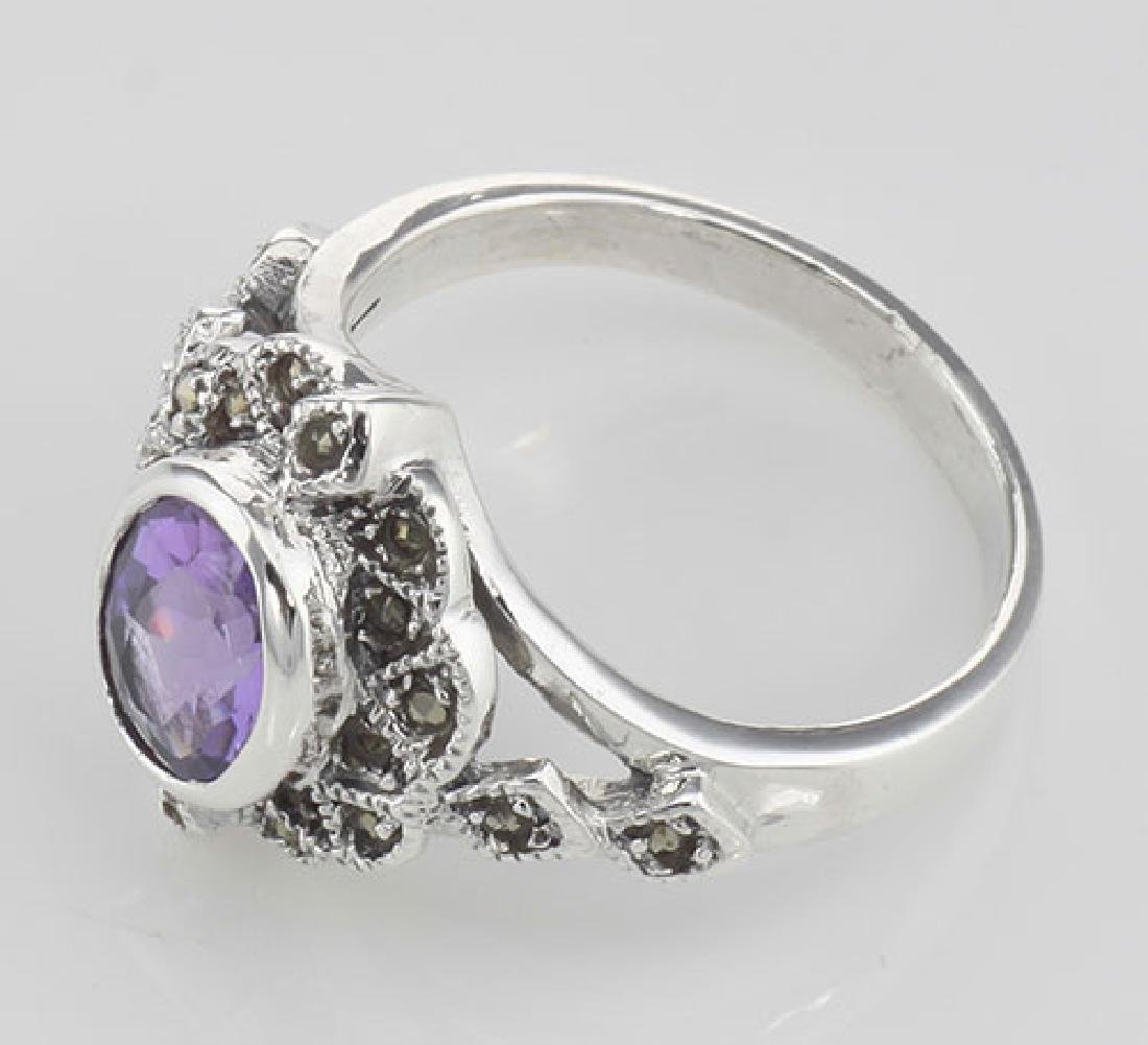 Lovely 1 Carat Genuine Amethyst and Marcasite Ring - St - 3