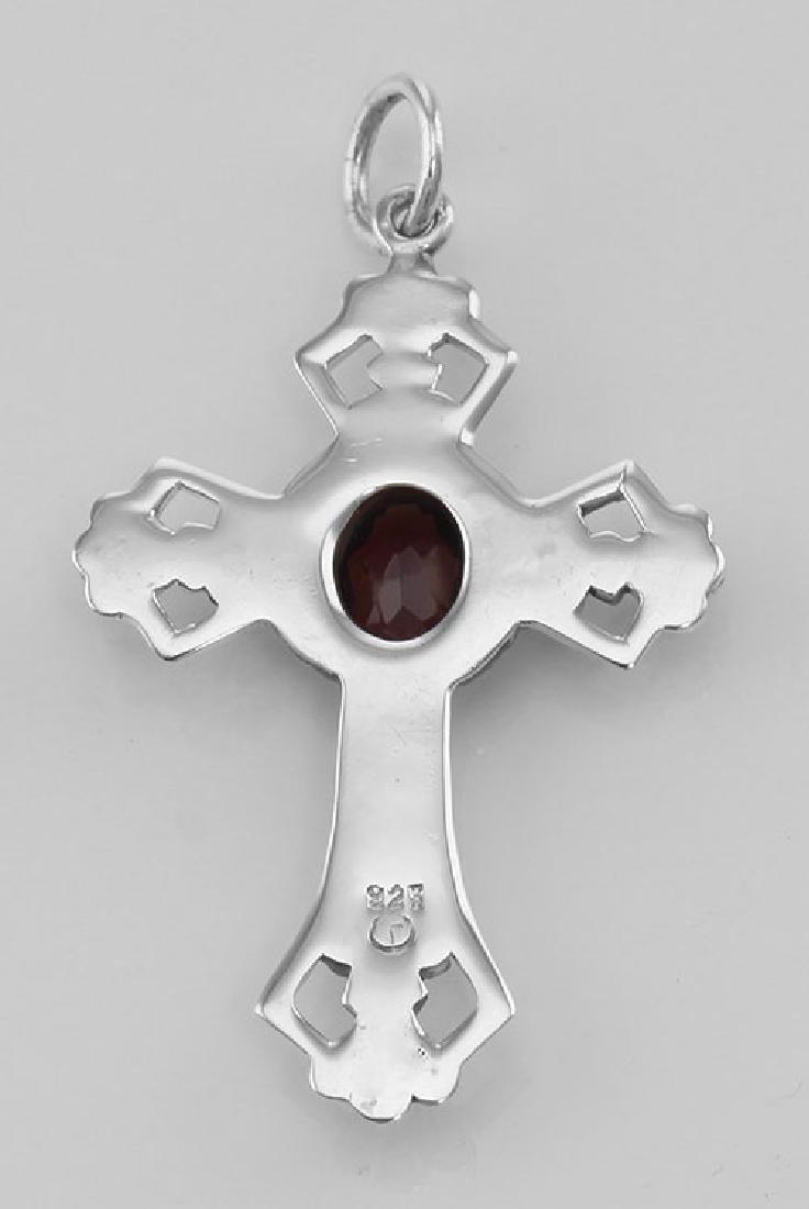Cross Pendant with Garnet - Sterling Silver - 2