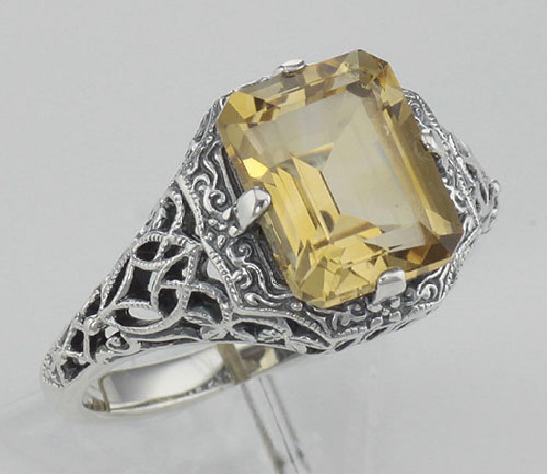Art Deco Emerald Cut Genuine Citrine Filigree Ring - St
