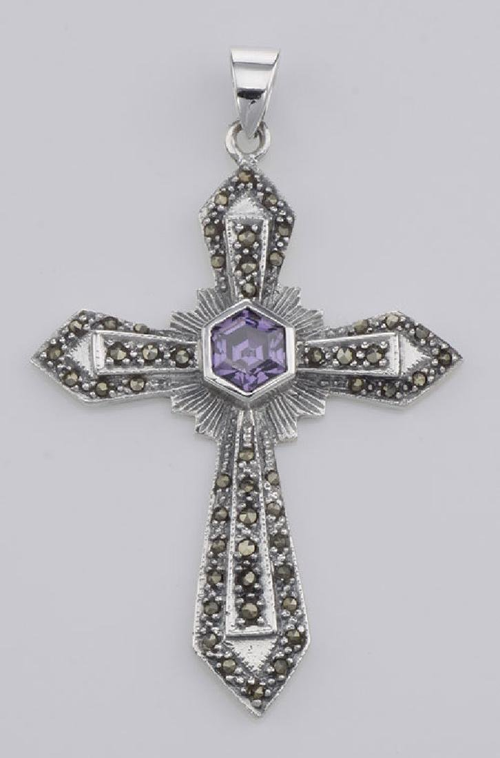 Antique Style Amethyst and Marcasite Cross Pendant - St