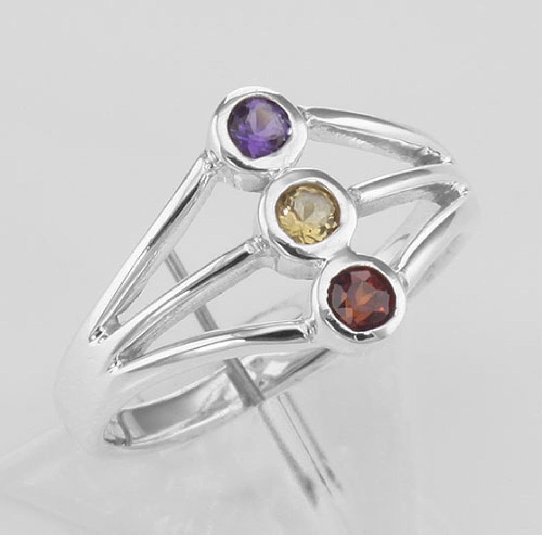 Beautiful Three Stone Ring - Garnet Citrine & Amethyst