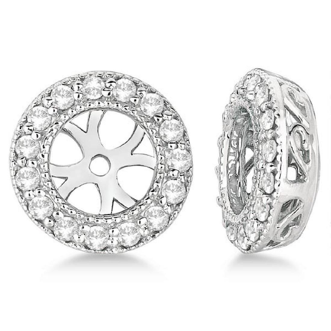 Vintage Round Cut Diamond Earring Jackets 14k White Gol