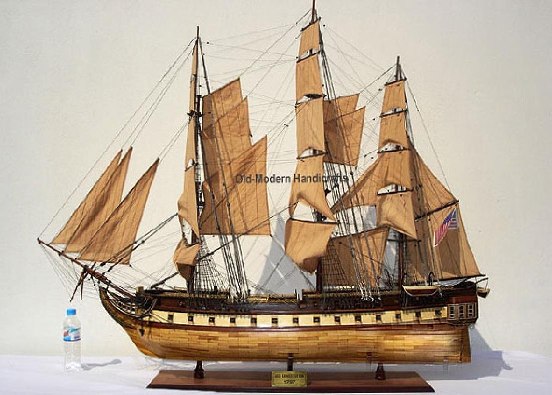 HAND MADE WOODEN USS Constitution XL W/COA