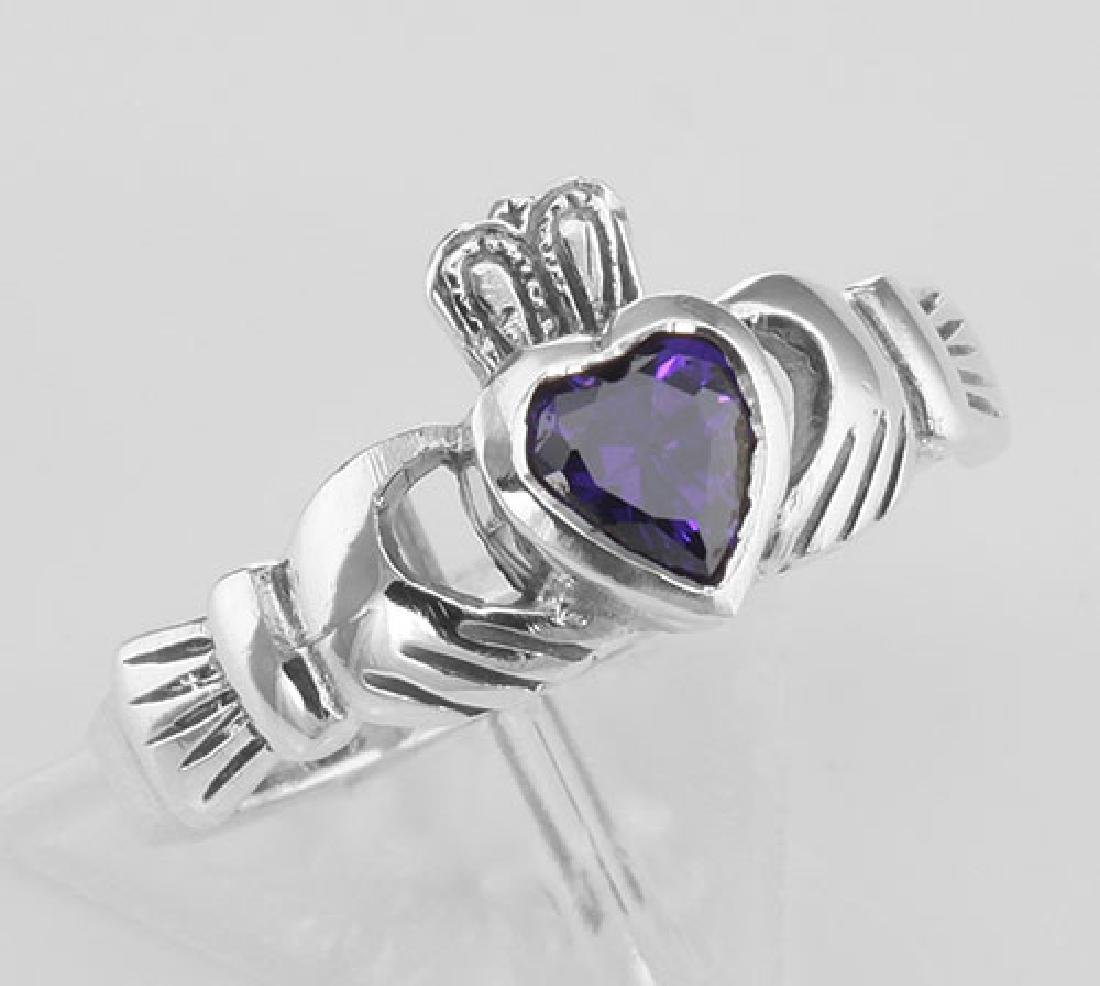 Irish Claddagh Ring w/ Amethyst CZ Gemstone - Sterling