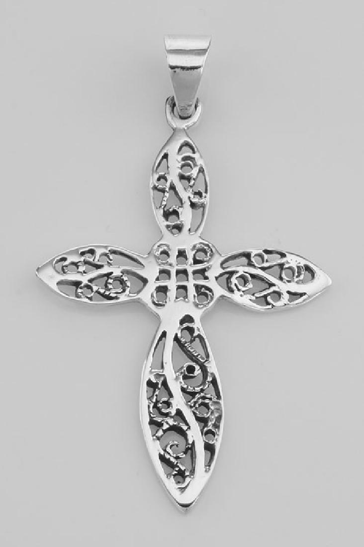 Beautiful Antique Style Filigree Cross Pendant - Sterli
