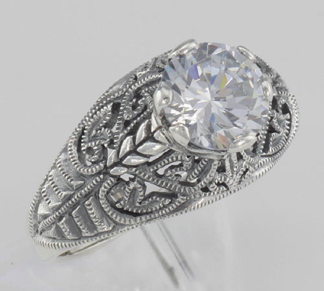 Classic Victorian Style Cubic Zirconia Filigree Ring -