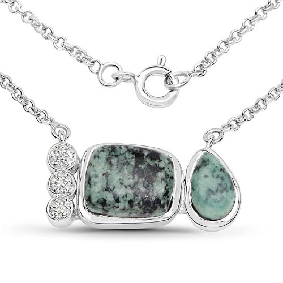 7.25 Carat Genuine Green Jasper and White Topaz .925 St