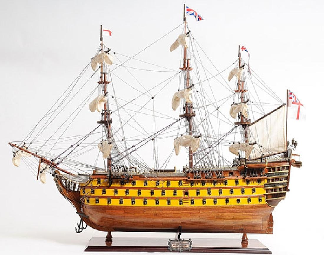 HAND MADE WOODEN HMS Victory Painted W/COA