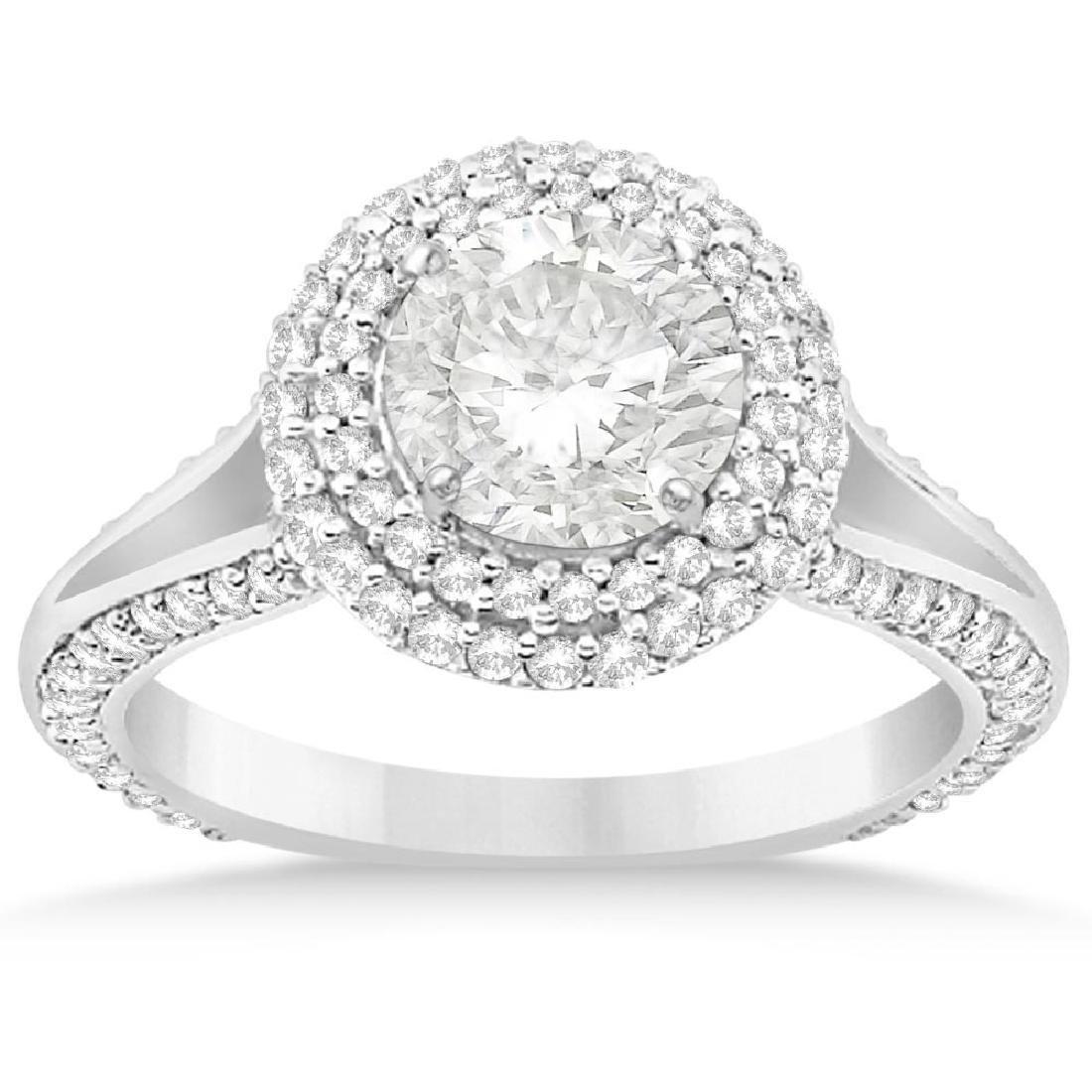 Double Halo Diamond Engagement Ring Setting 14k White G
