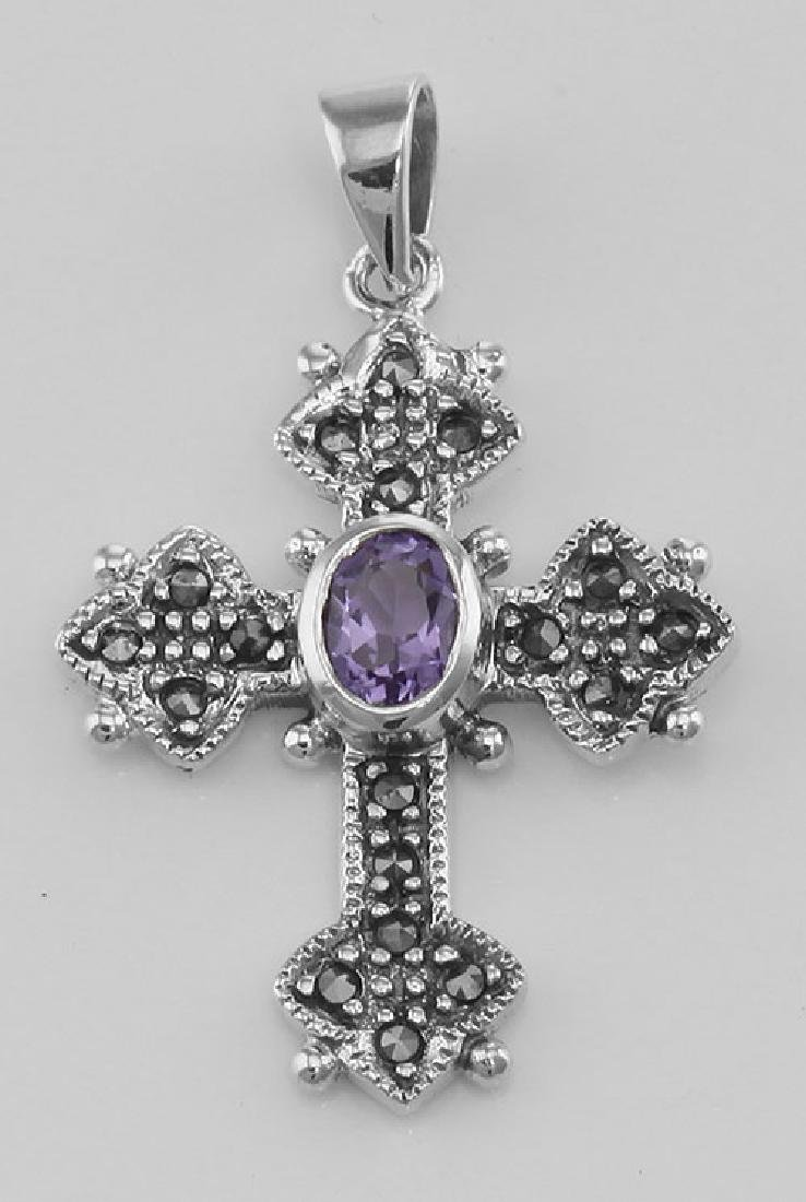 Marcasite Cross Pendant with Amethyst - Sterling Silver