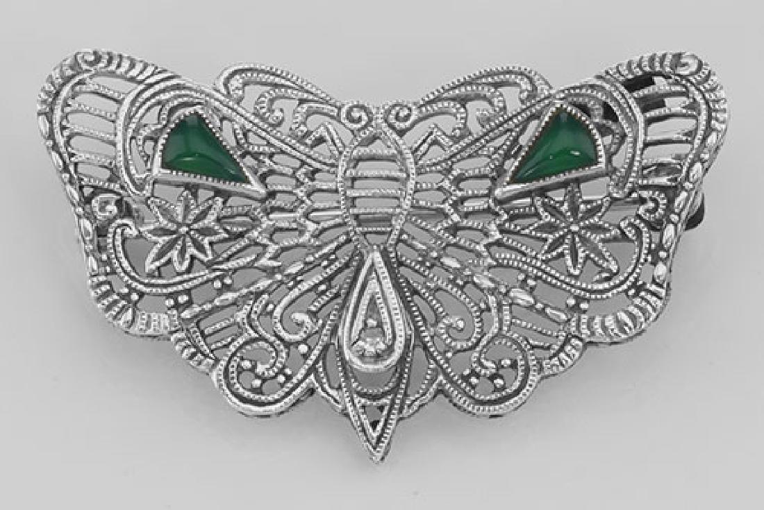 Art Deco Style Filigree Diamond Butterfly Pin - Sterlin