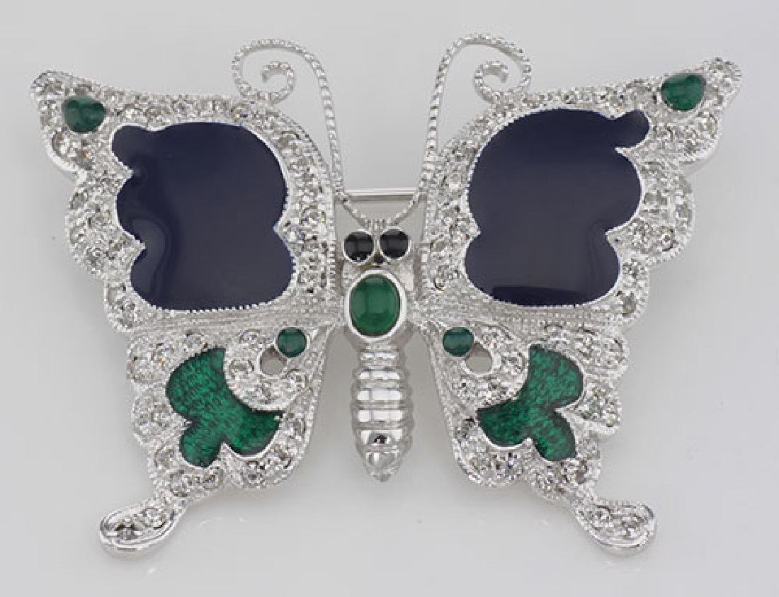 Antique Style Fine Enamel and Crystal Butterfly Pin - S