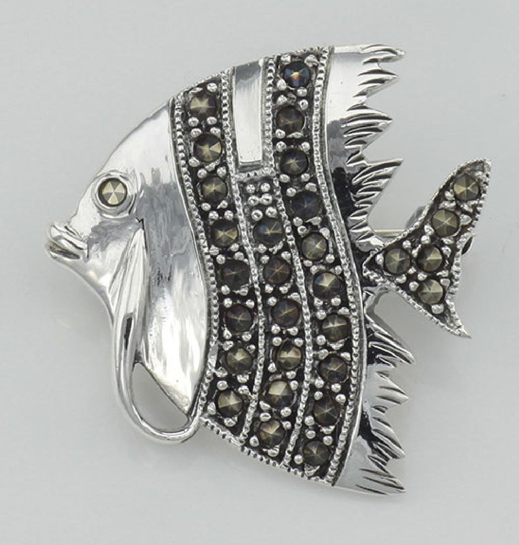 Marcasite Fish Pin - Sterling Silver