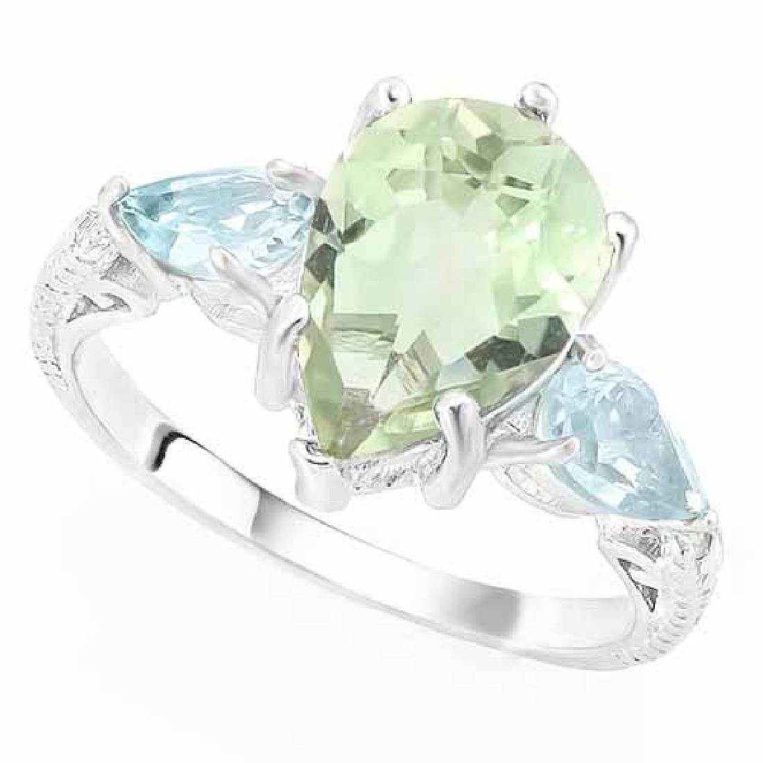 3 CARAT GREEN AMETHYST & 1 1/5 CARAT BABY SWISS BLUE TO