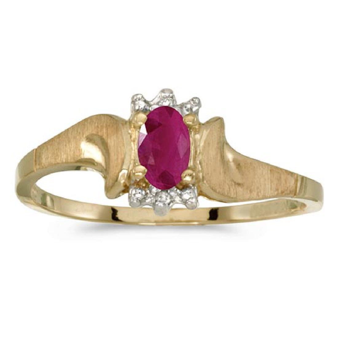 Certified 14k Yellow Gold Oval Ruby And Diamond Satin F