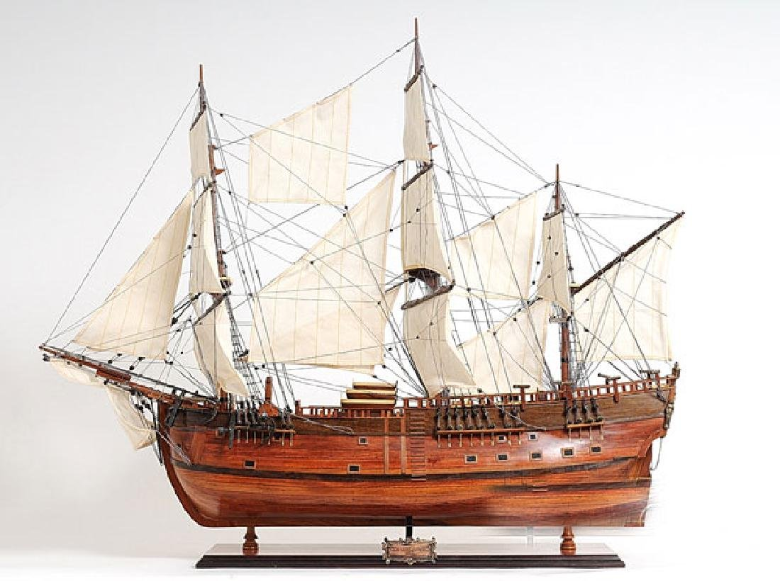HAND MADE WOODEN HMS Endeavour W/COA