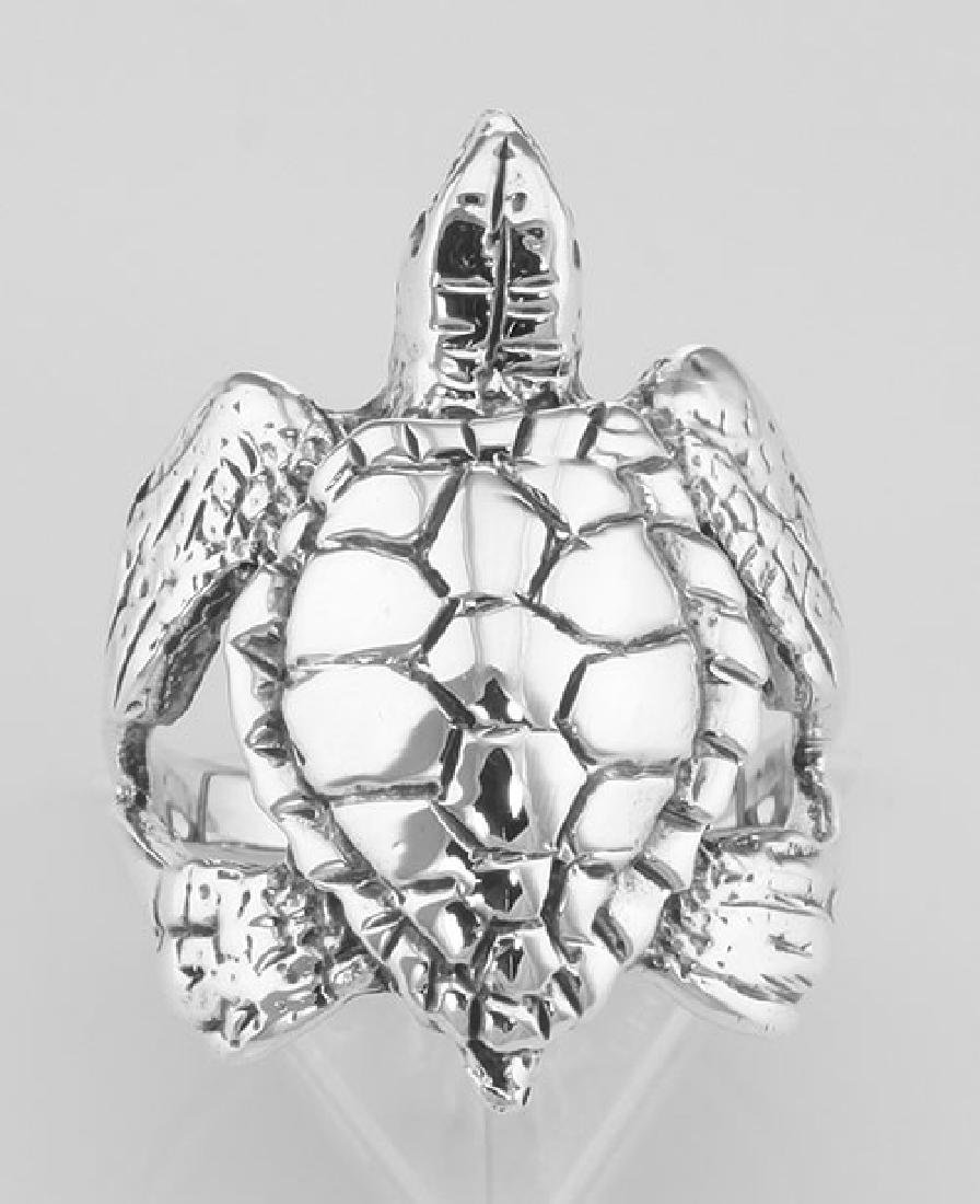 Beautiful Sea Turtle Ring - Sterling Silver - 2