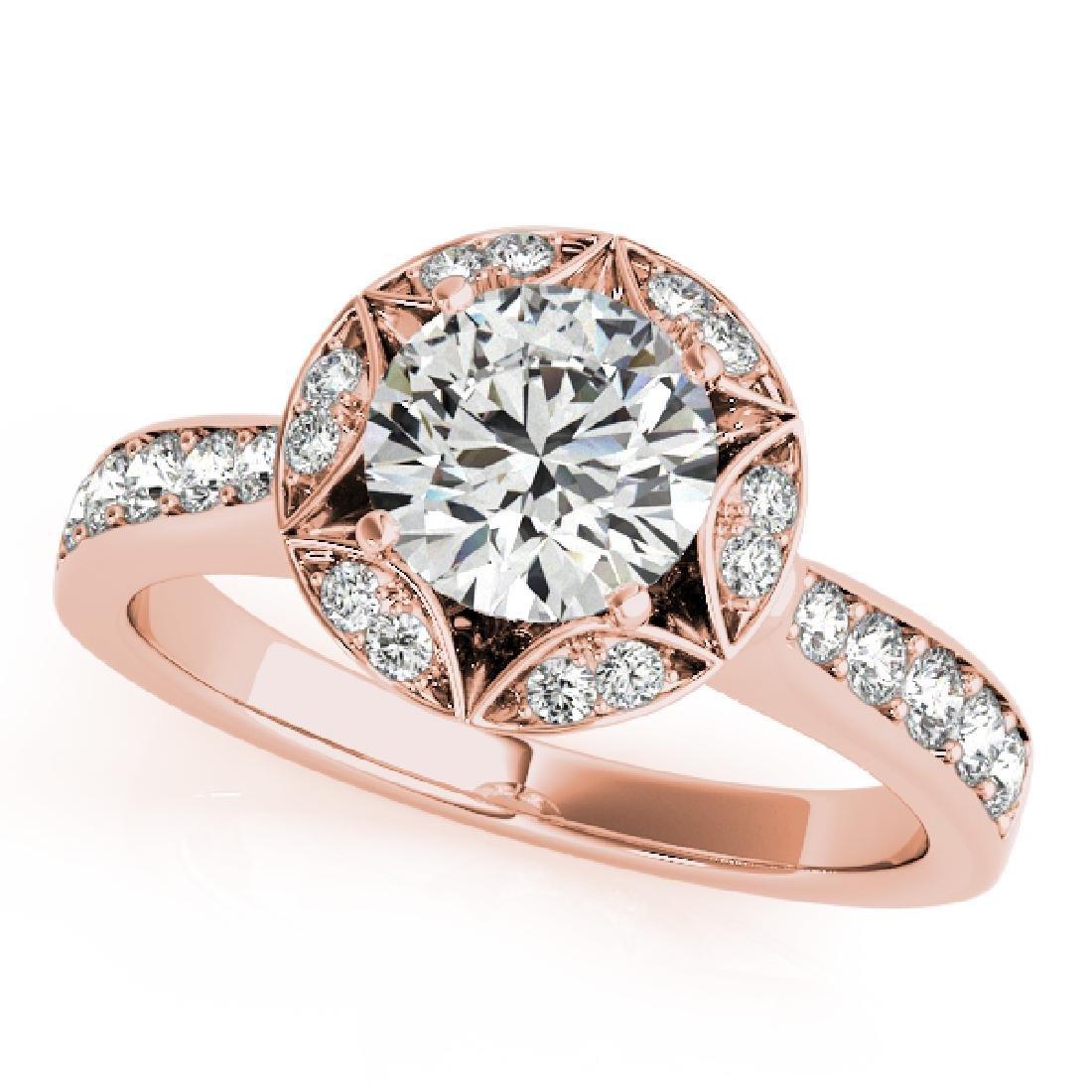CERTIFIED 18K ROSE GOLD 1.30 CT G-H/VS-SI1 DIAMOND HALO