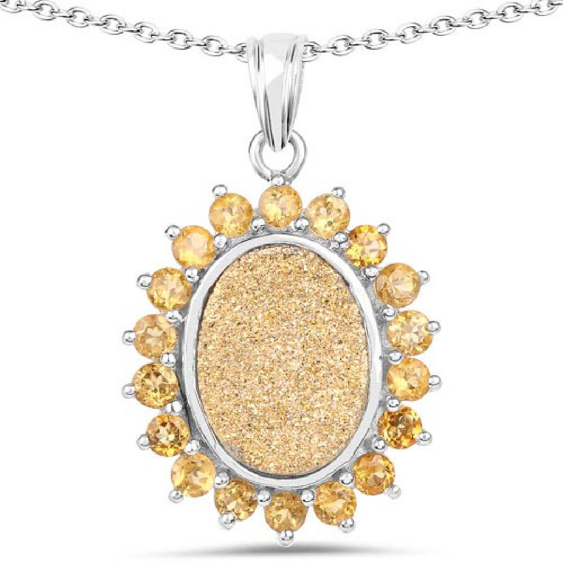 7.70 Carat Genuine Golden Drusy and Citrine .925 Sterli