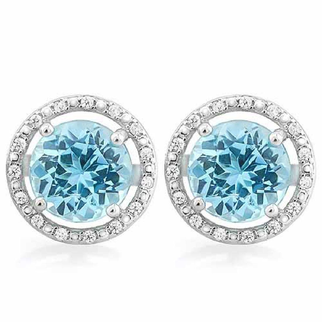 4 2/3 CARAT BABY SWISS BLUE TOPAZ & DIAMOND 925 STERLIN