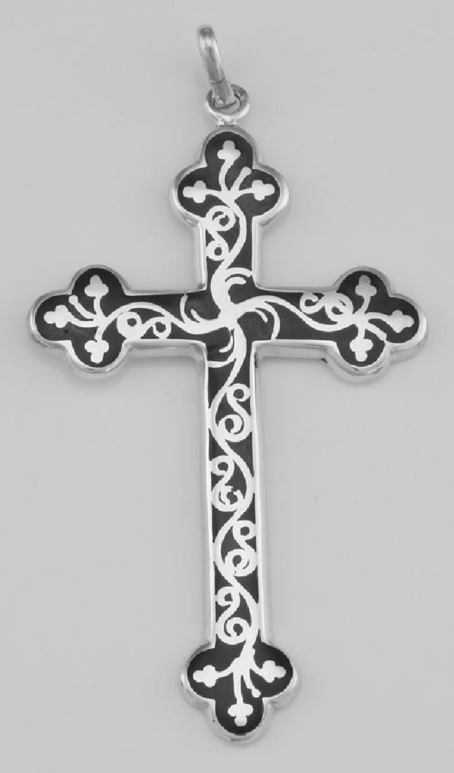 Vintage Style Cross Pendant Black Enamel Scroll Design