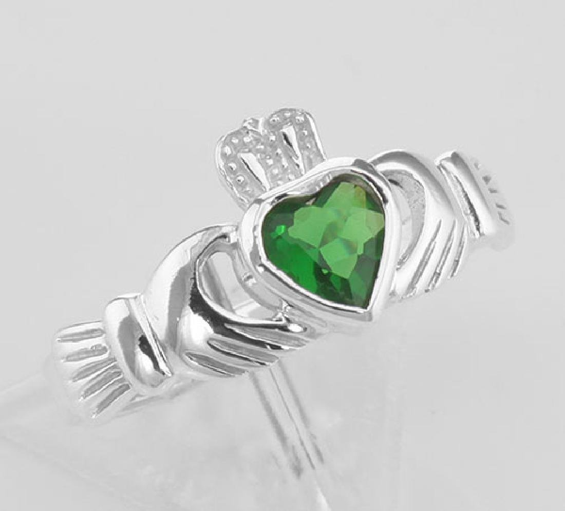 Irish Claddagh Ring w/ Green CZ Gemstone - Sterling Sil