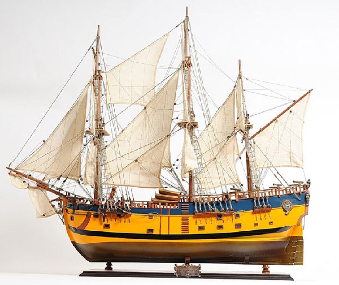 HAND MADE WOODEN HMS Endeavour Painted W/COA
