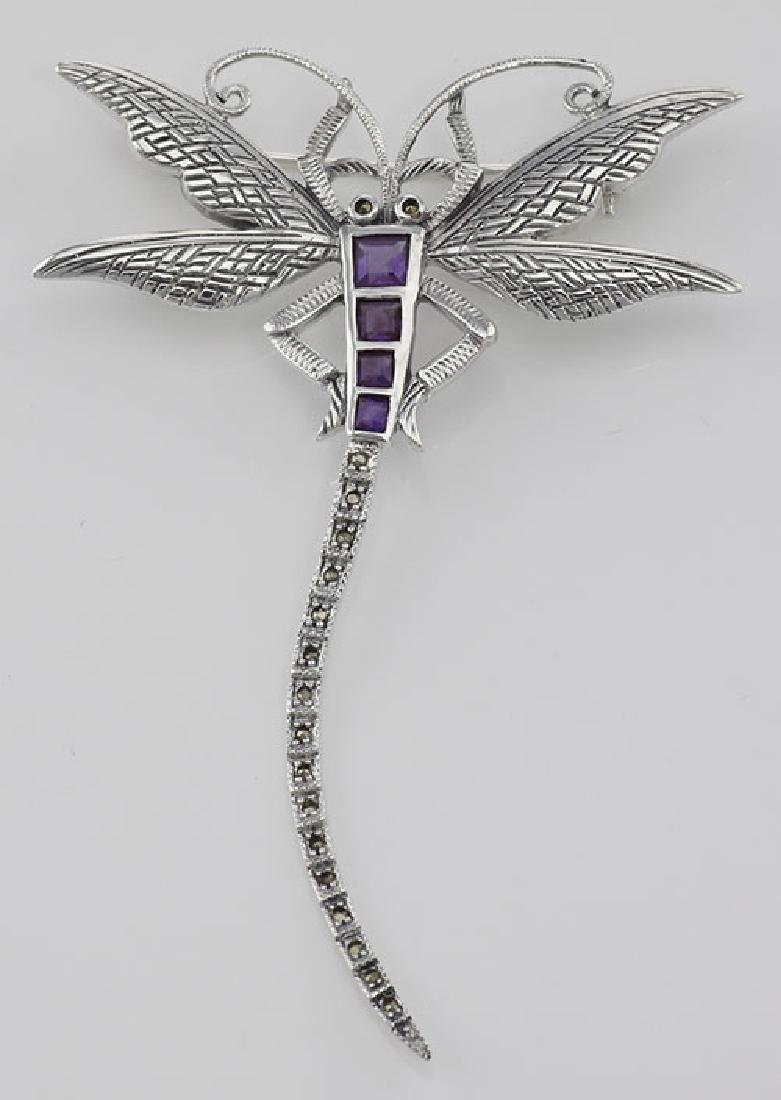 Marcasite / Amethyst Dragonfly Pin or Brooch - Sterling