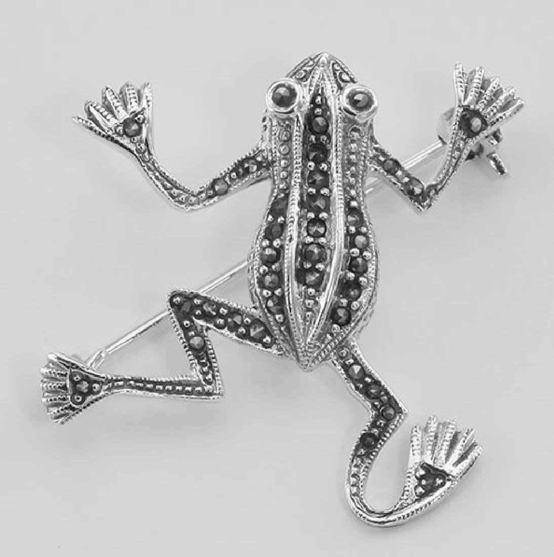 Cute Marcasite Frog Pin / Brooch - Sterling Silver