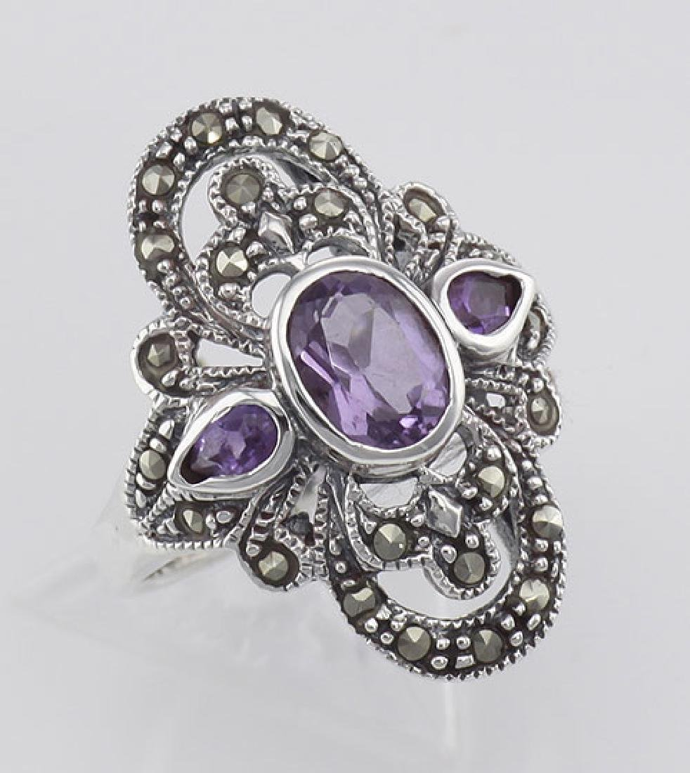 Amethyst and Marcasite Ring - Sterling Silver