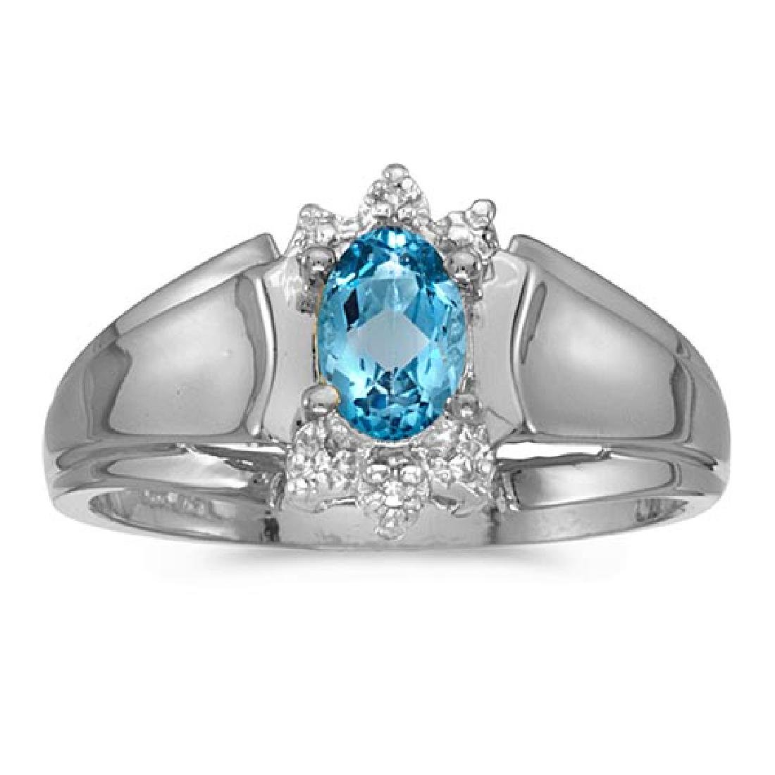 Certified 10k White Gold Oval Blue Topaz And Diamond Ri