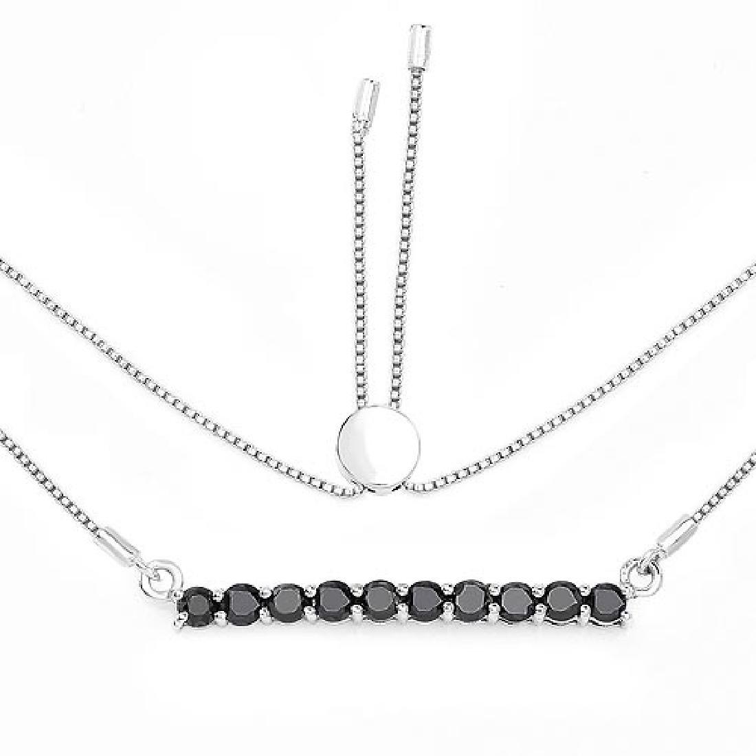 1.47 Carat Genuine Black Diamond .925 Sterling Silver N