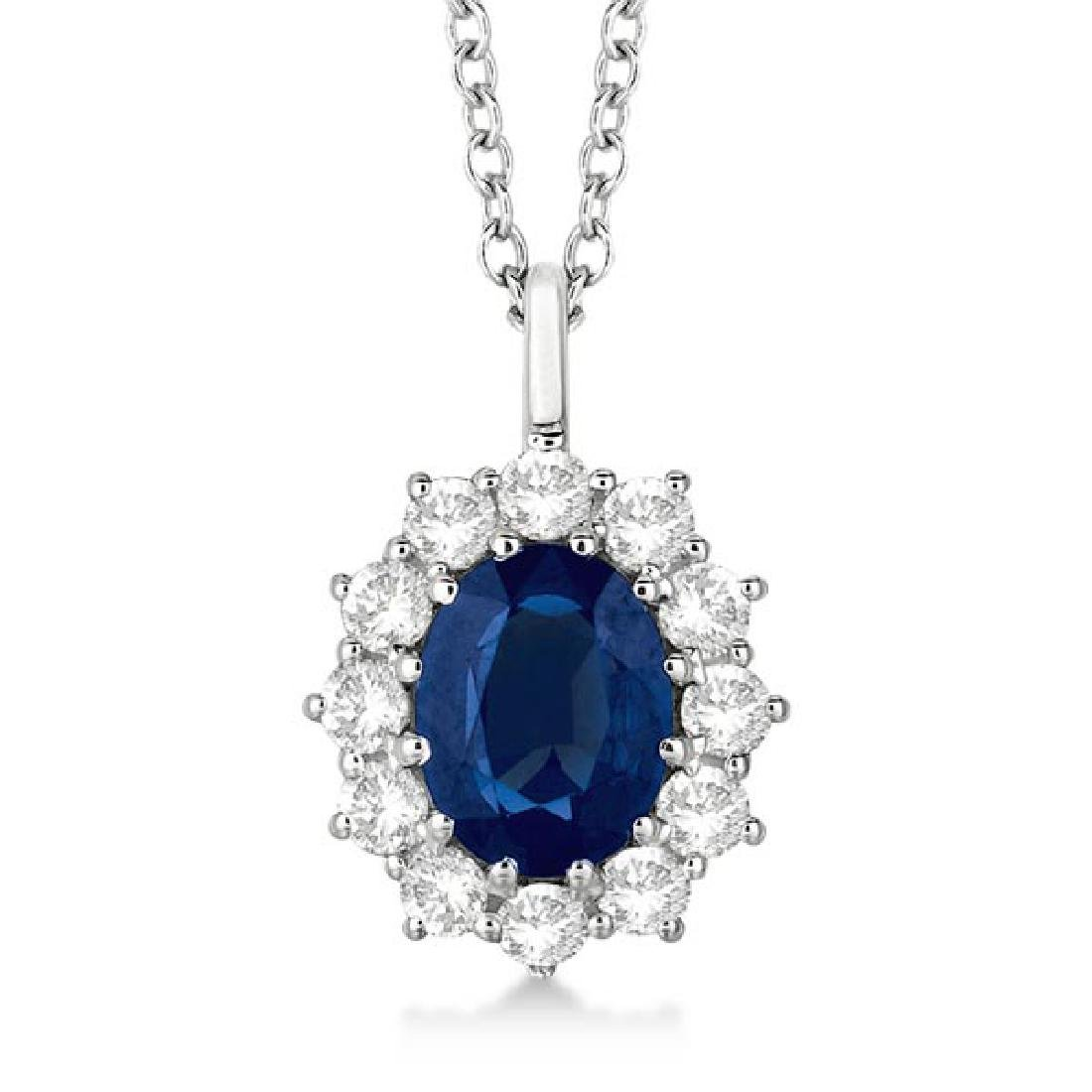 Oval Blue Sapphire and Diamond Pendant Necklace 14k Whi