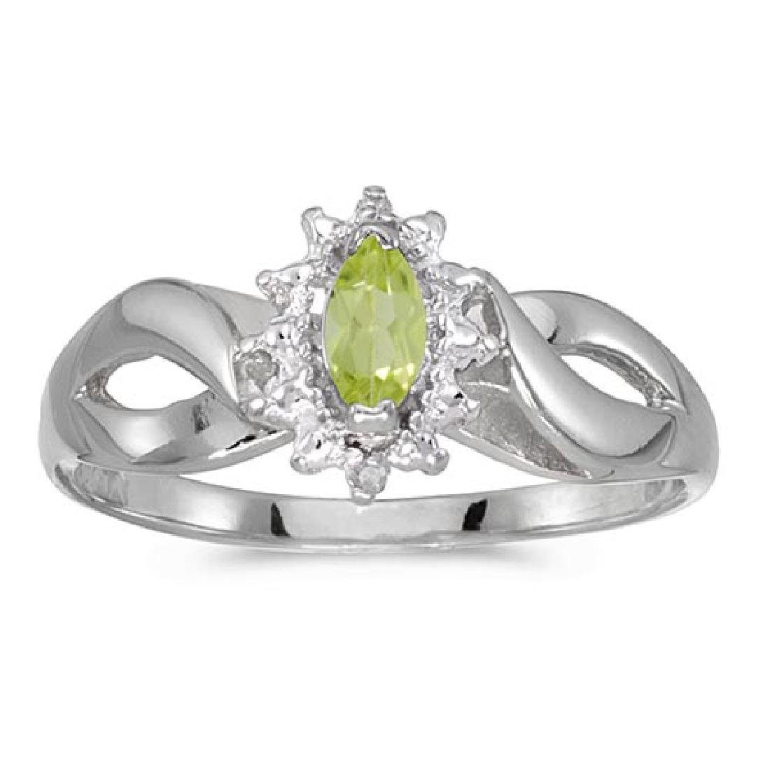 Certified 10k White Gold Marquise Peridot And Diamond R