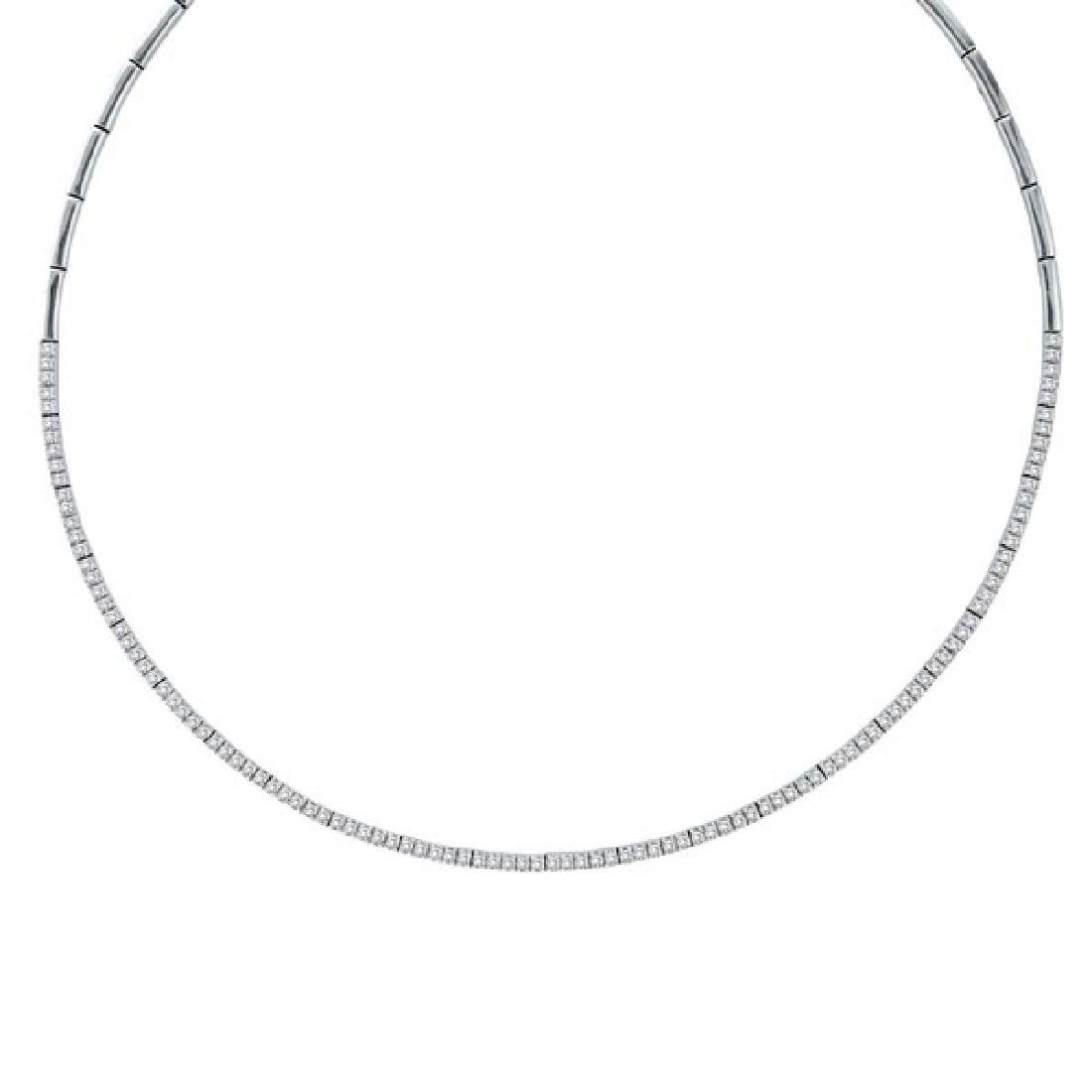 Diamond Tennis Choker Necklace in 14k White Gold (2.31c