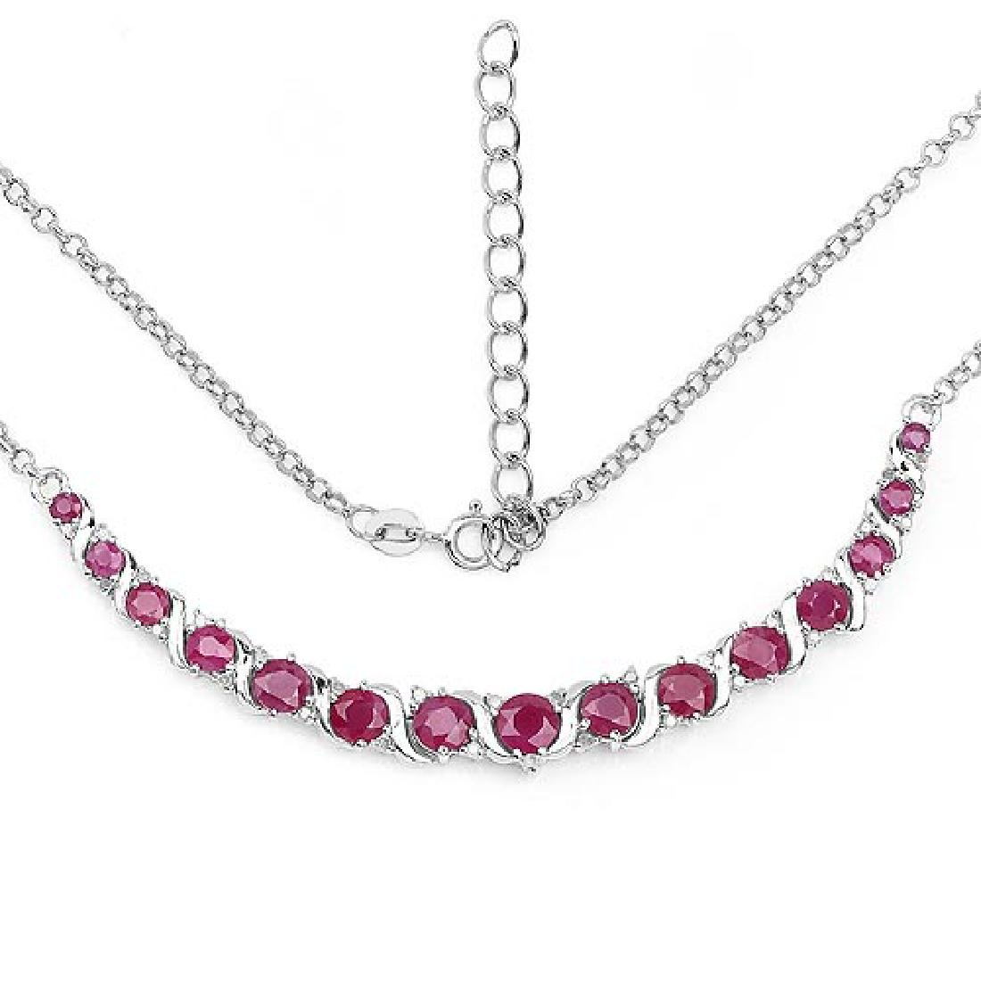 5.09 Carat Genuine Ruby and White Diamond .925 Sterling