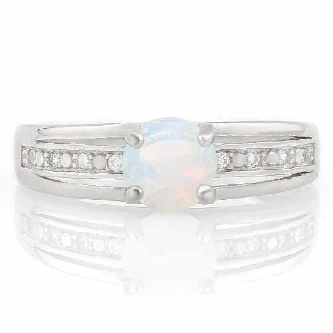 1 CARAT CREATED FIRE OPAL & DIAMOND 925 STERLING SILVER