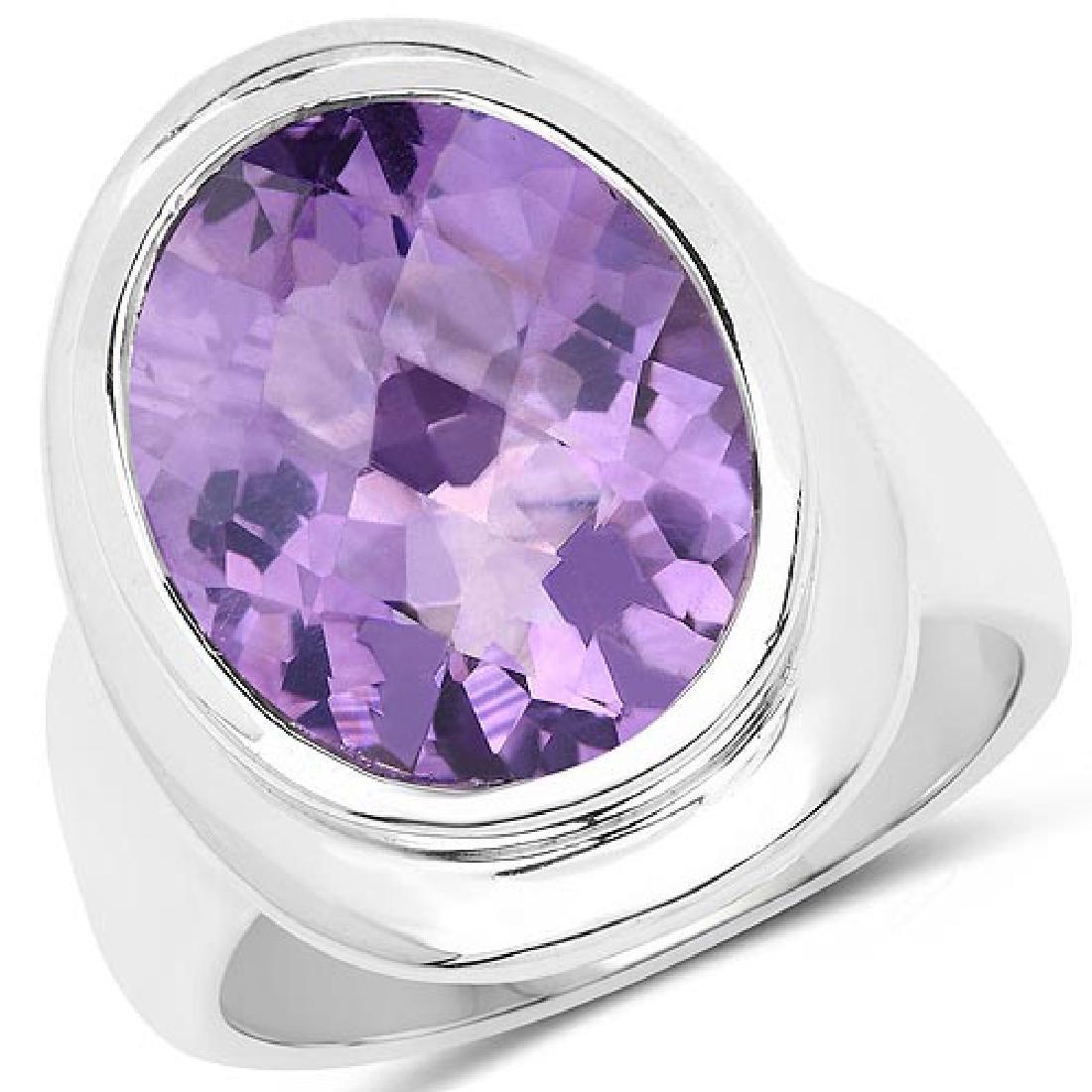 9.01 Carat Genuine Amethyst .925 Sterling Silver Ring