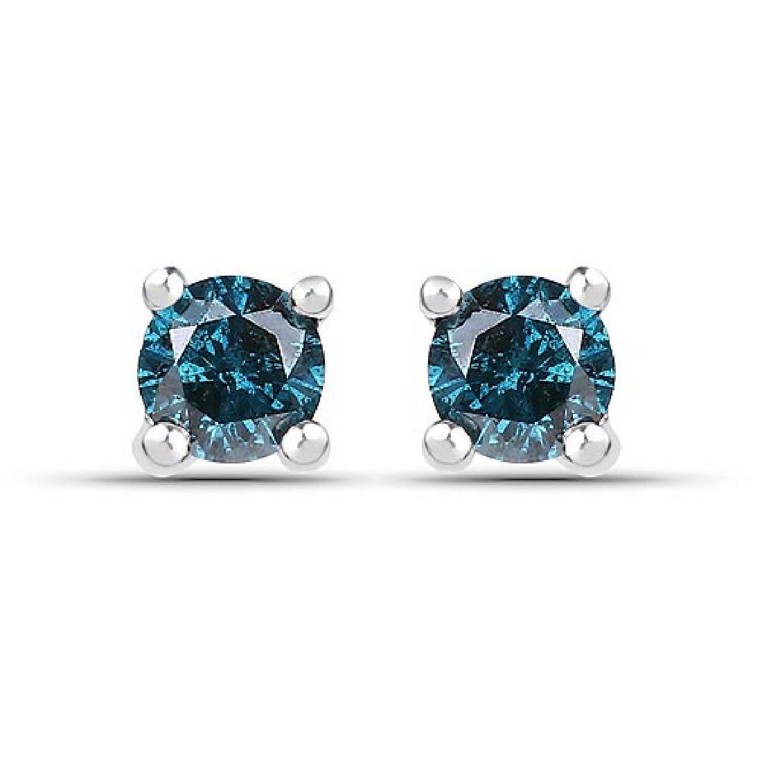 0.25 Carat Genuine Blue Diamond .925 Sterling Silver Ea