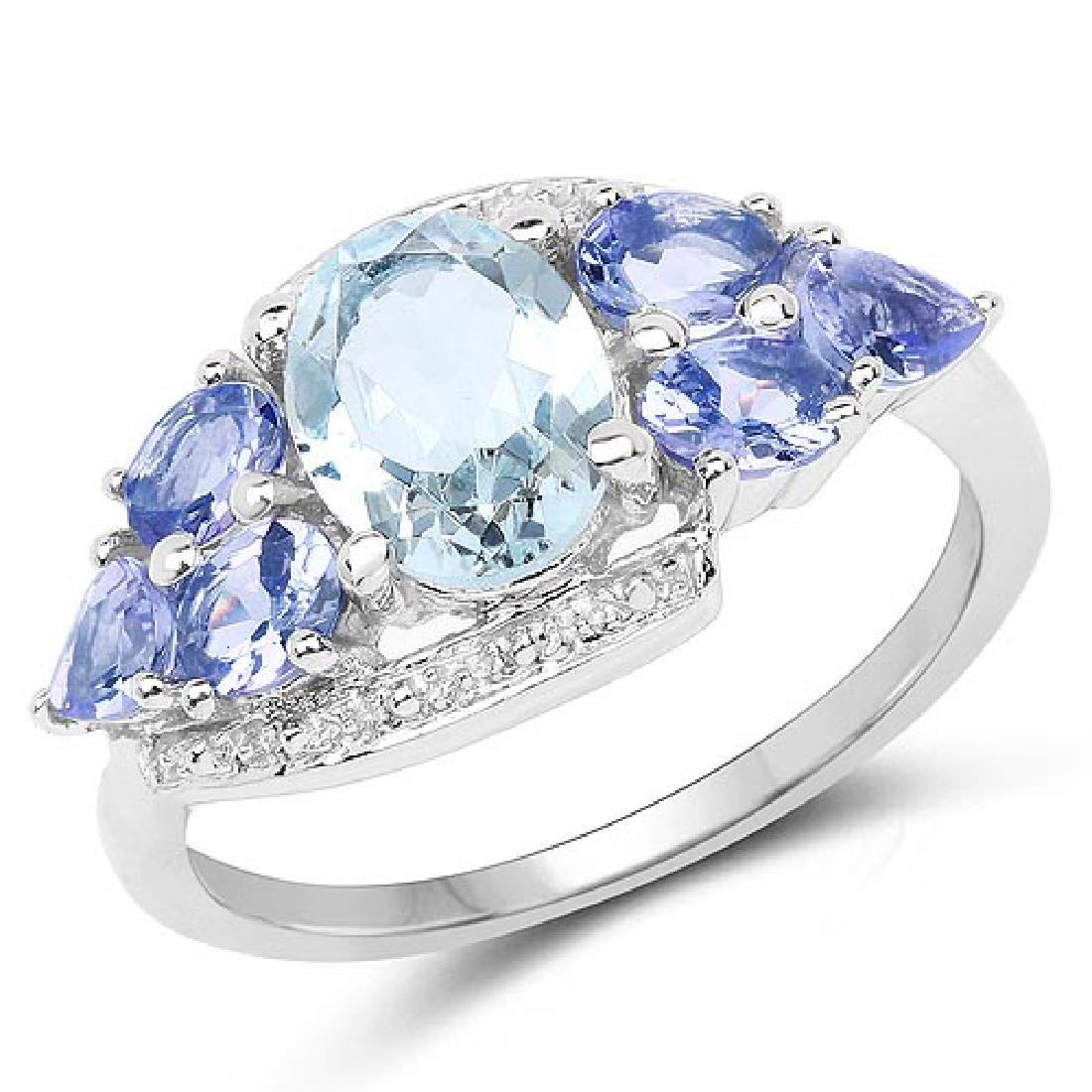 2.11 Carat Genuine Aquamarine and Tanzanite .925 Sterli