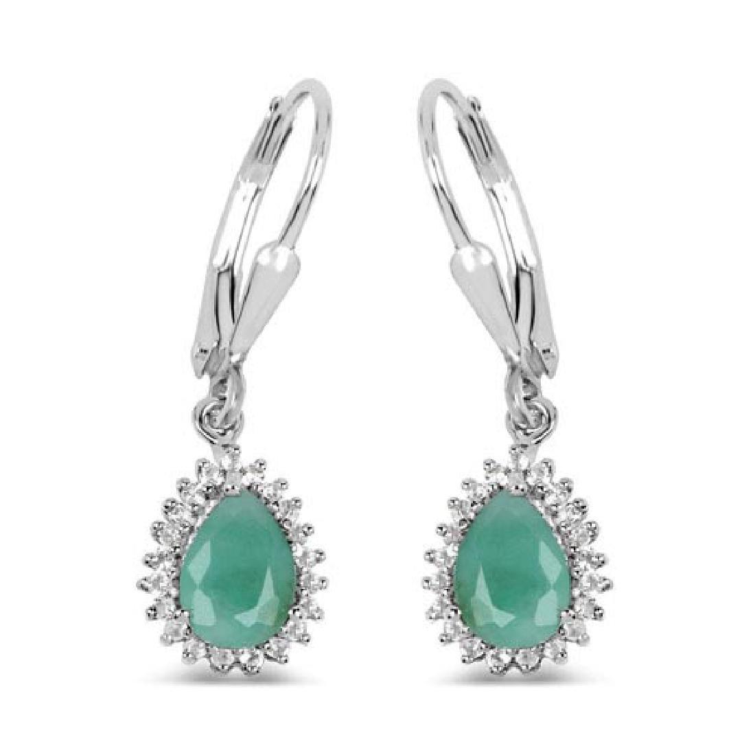 1.45 Carat Genuine Emerald and White Topaz .925 Sterlin