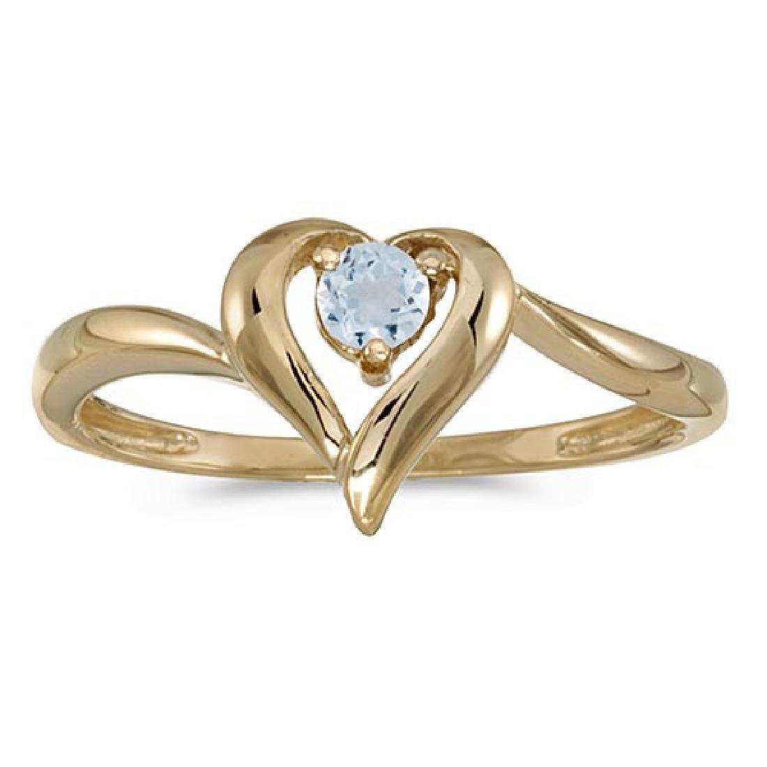 Certified 10k Yellow Gold Round Aquamarine Heart Ring 0