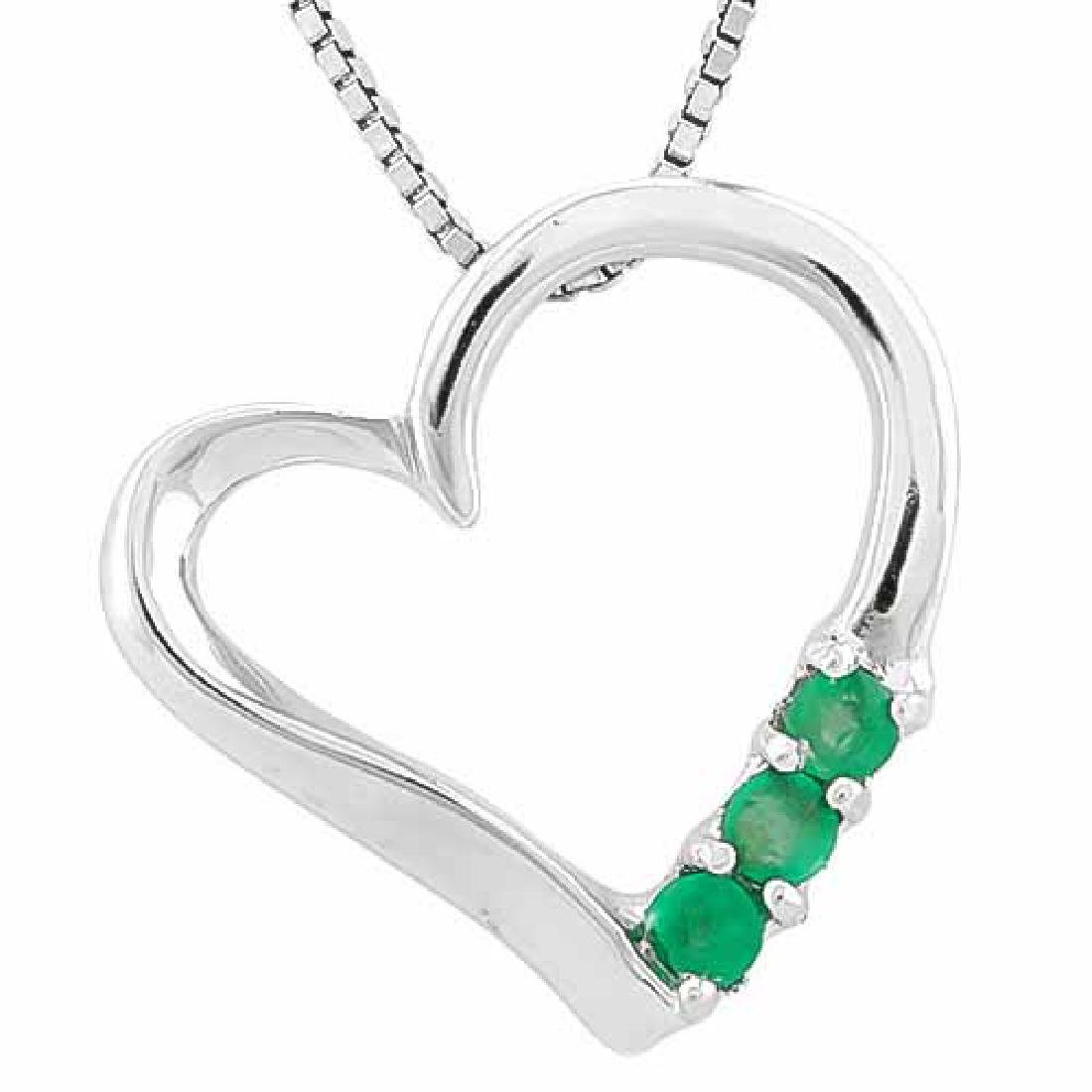 1/3 CARAT EMERALD 925 STERLING SILVER PENDANT