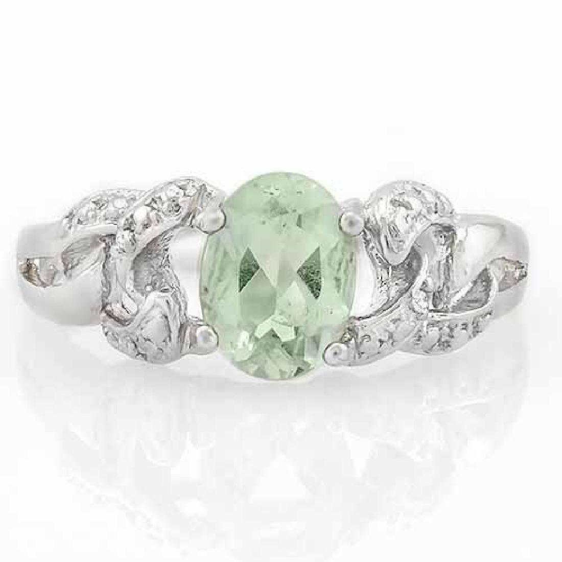 1 CARAT GREEN AMETHYST & DIAMOND 925 STERLING SILVER RI