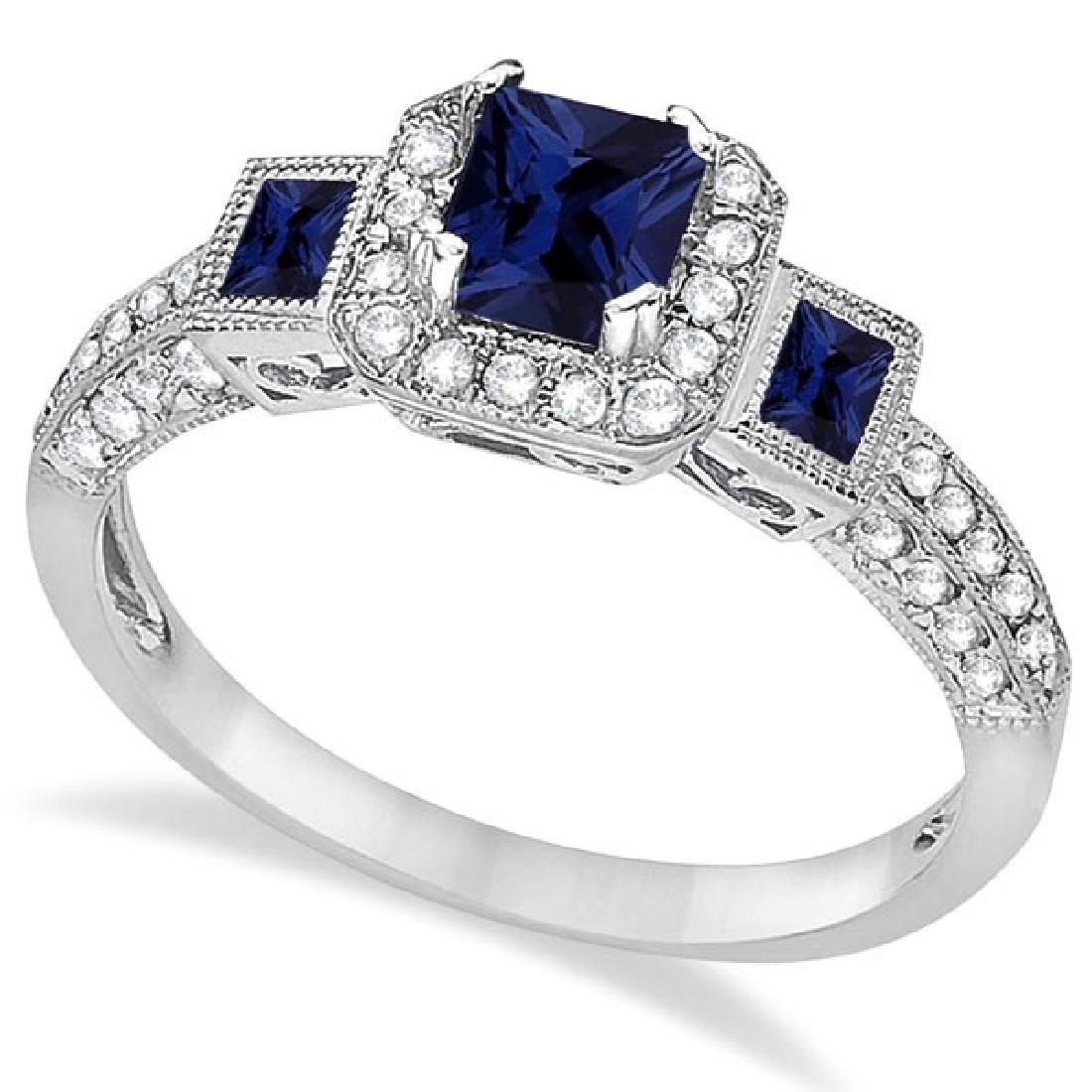 Blue Sapphire and Diamond Engagement Ring 14k White Gol
