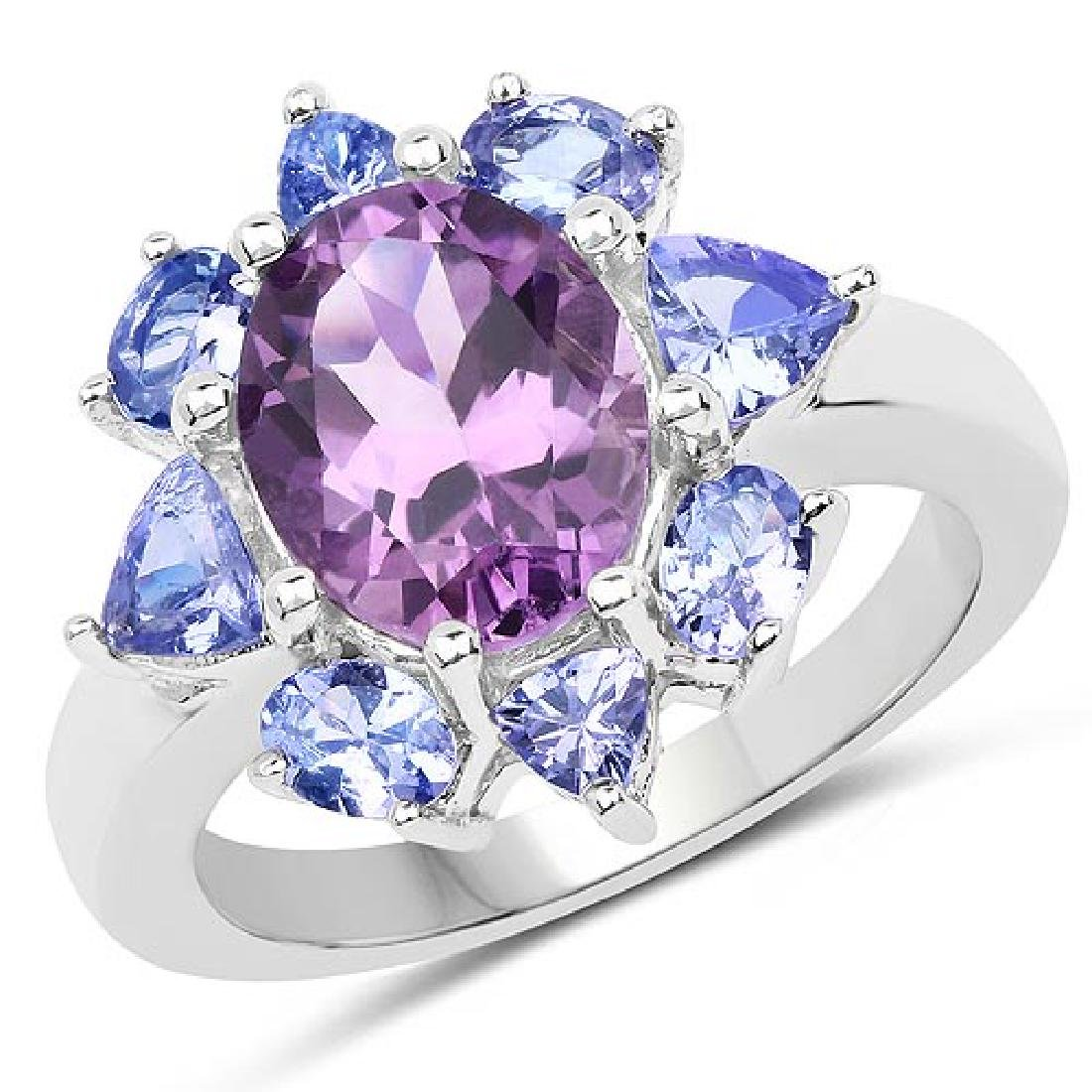3.49 Carat Genuine Amethyst and Tanzanite .925 Sterling