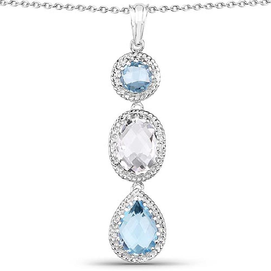 13.10 Carat Genuine Crystal Quartz and Blue Topaz .925