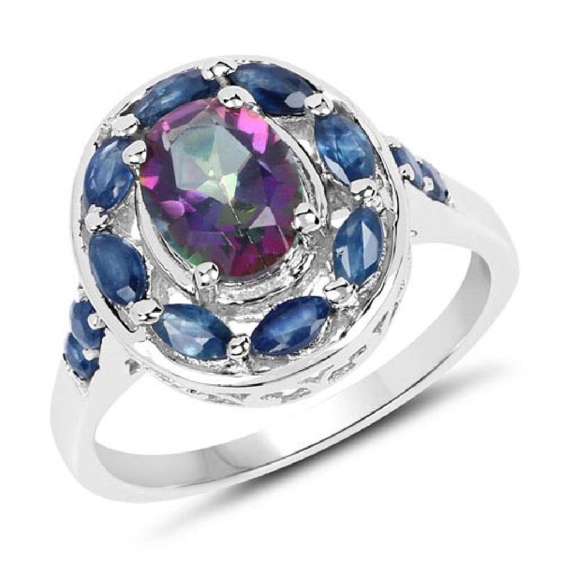 2.46 Carat Genuine Quartz Mystic and Blue Sapphire .925