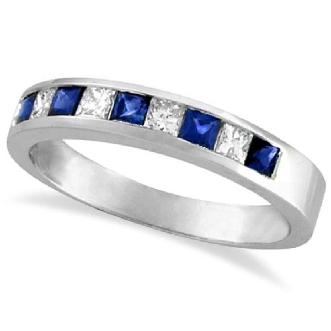 Princess-Cut Diamond and Sapphire Wedding Ring Band in
